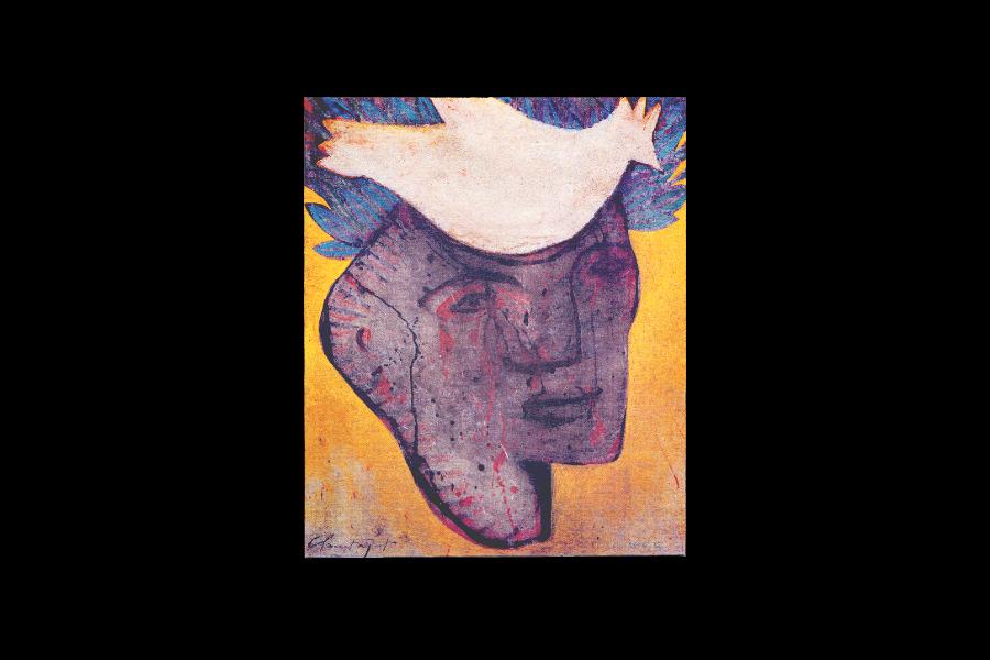 1997-Verso et autres songes, figure avec oiseau / Verso and others dreams, face and bird